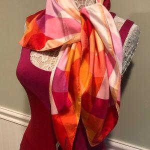 Andrea Landau Large Pink & Orange Silk Scarf
